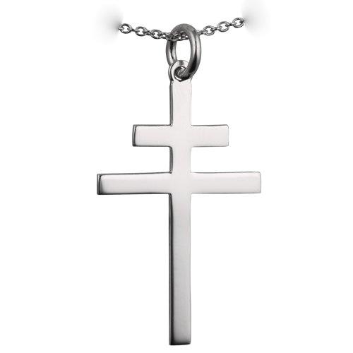Croix de Lorraine en argent fin 925/1000, 32x21mm, simple avec chaîne Rolo