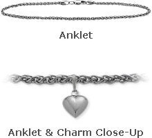 14K White Gold 10'' Wheat Style Anklet with 9mm Heart Charm by Elite Jewels