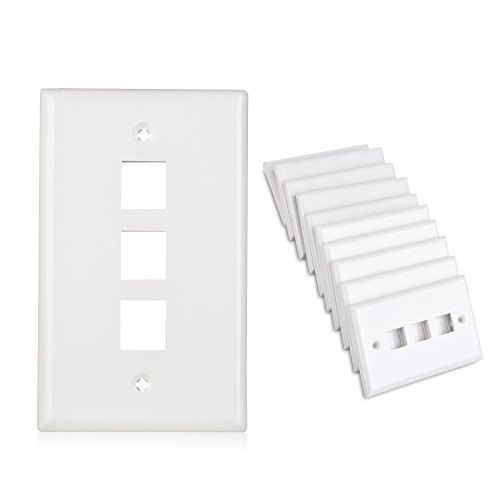 Cable Matters (10-Pack) Low Profile 3-Port Cat5e / Cat6 Keystone Jack Wall Plate in White