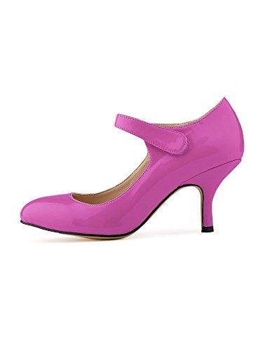 OCHENTA Mujer talones de la novia del tobillo PU de charol zapatos de trabajo Morado