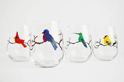 Four Seasons Stemless Wine Glasses, Set of 4 Bird Glasses, Painted Bird Glassware