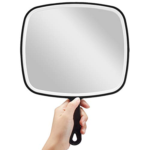 OMIRO Hand Mirror, Extra Large Black Handheld Mirror with Handle, 9 W x 12.4 L