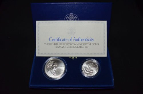 1993 D Bill of Rights Silver Dollar and Commemorative Half 2-piece Uncirculated Set BU Mint State