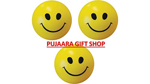 PUJAARA Yellow Smiley Face Squeeze Balls for Stress Relief and Playing  Pack of 3