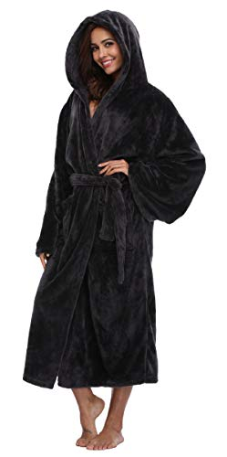 Women's Long Hooded Velvet Bathrobe Ultra-Soft Winter Fleece Plush Nightgown Dark Grey ()