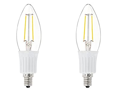 2 Pack DC 12 Volt Chandelier 2W LED Candle Edison Filament C35 Light Bulb E12 MES Mini Base Lamp Low Voltage Ikea Desk Top Outdoor Outside Landscape Landscaping Lighting