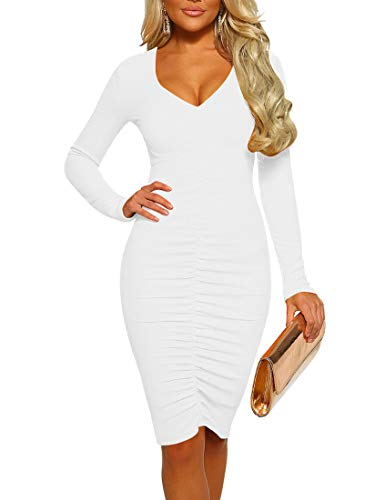 Mizoci Women's Basic Casual Long Sleeve Ruched Midi Dresses Sexy Bodycon Club Party Dress
