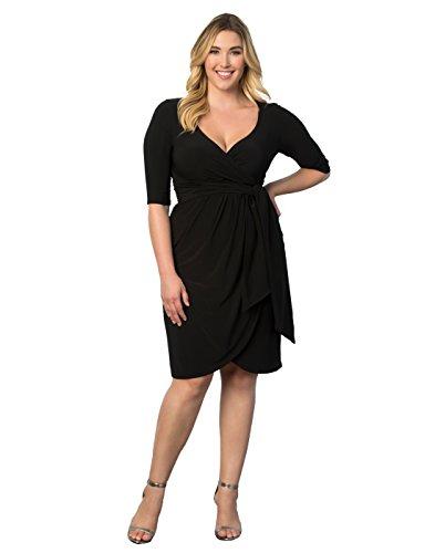 Kiyonna Women's Plus Size Harlow Faux Wrap Dress 1x Black Noir