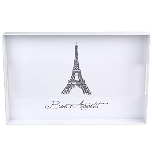 (Le Design Moderne Multifunctional Acrylic White Serving Tray | Eiffel Tower Paris Decorative Design for Home Decor | 100% Handmade Breakfast & Food Tray | Best Gift For Wedding & House Blessing)
