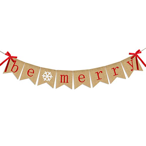 Be Merry Burlap Banner   Christmas Banner with Snowflake Sign   Christmas Decoration   Rustic Christmas Decor for Mantle Fireplace Xmas Party Holiday Supplies Decoration   Outdoor Indoor Hanging Decor