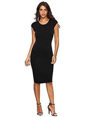 MakeMeChic Women's Cap Sleeve Classy Solid Pencil Dress