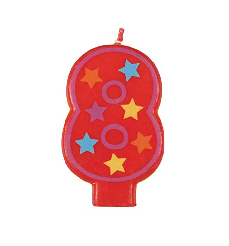Decorative Stars Number 8 Birthday Candle