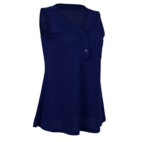 MagiDeal Sleeveless Flowy Tank Top Weste V-Ausschnitt Bluse Shirt Sommer Lässig Blau