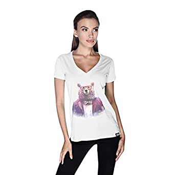 Creo Bear Pug Life V-Neck T-Shirt For Women - M, White