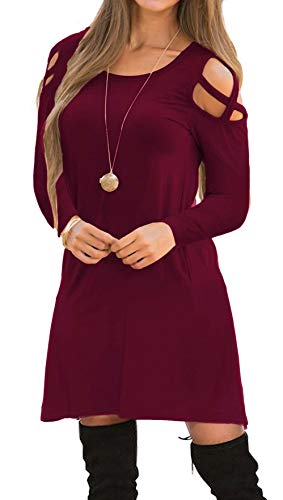 Pure Hand Knit Sweaters - OYANUS Womens Dresses Summer Strappy Cold Shoulder Swing T-Shirt Loose Dress with Pockets A4-Burgundy S