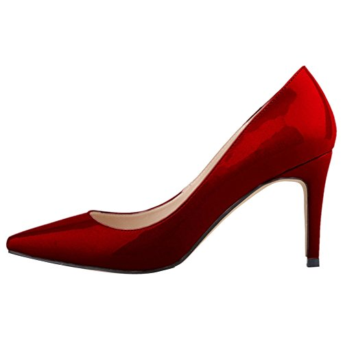 OCHENTA Women's Sexy PU Leather Pointed Toe Stiletto Pumps Thin Shoes Wine Red 4Nsut