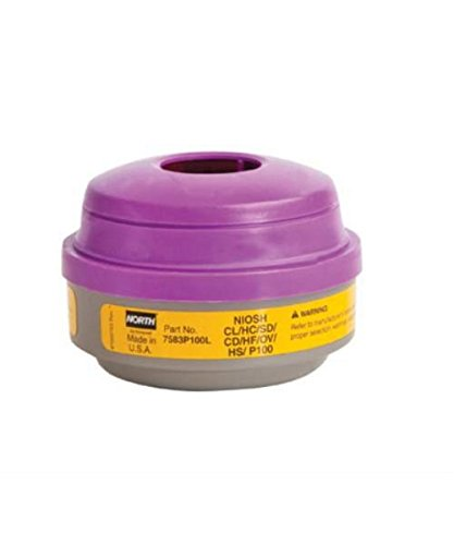 Honeywell 7583P100L N7583P100L Organic Vapor and Acid Gas Cartridge, Compatible with North Full or Half Mask Respirators, Purple/Gray (Pack of 2) ()