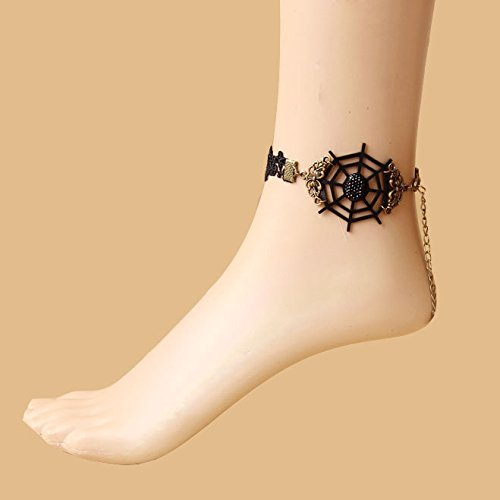 usongs Devil law Foot Chain anklet ankle chain complex Gulei Si women girls foot spider web with Valentine's gift fine jewelry ()