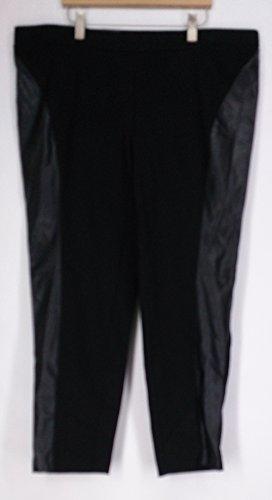 INC Womens Plus Ponte Faux Leather Skinny Pants Black 24W by Inc