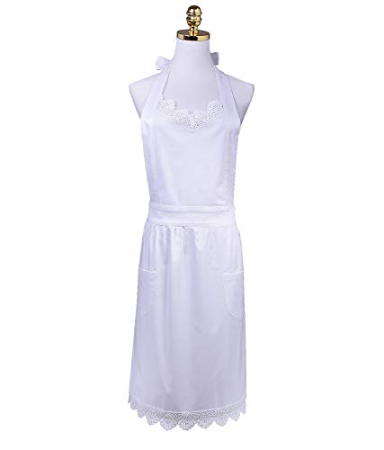 HOMCOS Deluxe White Kitchen Aprons Lace Victorian Maid