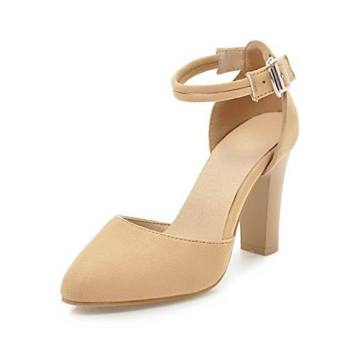 Beige HOESCZS Grande Taille 32-46 Bout Pointu Solide Boucle Sangle Chaussures Femmes Pompes Spike Talons Hauts Parti Pompes Femme Chaussures