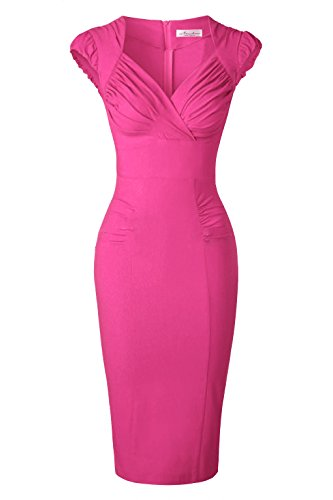Newdow Lady's 50s Vintage V-Neck Capsleeve Pencil Dress (XX-Large, Rose)