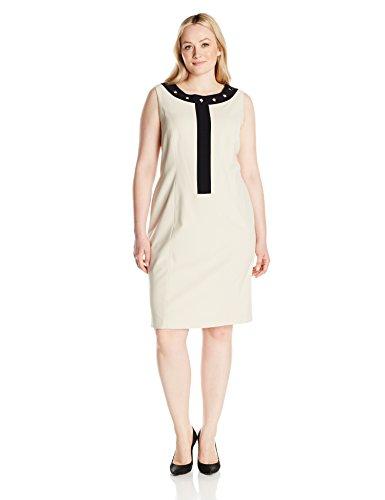 (Nine West Women's Plus Size Dress W/White Framed Neckline/Grommets (2), Desert/Black, 16W)