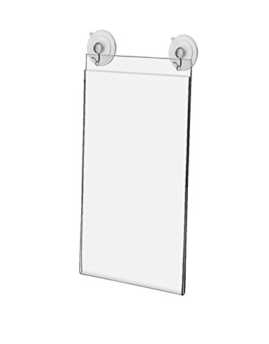 Marketing Holders Window, Glass Mount Ad Frame Sign Holder 5.5 x 8.5 Inch with 2 Suction Cups with Hooks for Business, Store, Restaurant, School (Lot of 2) by Marketing Holders (Image #1)