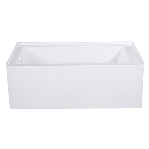 Kingston Brass VTAP543022L Aqua Eden 54-Inch Acrylic Alcove Tub with Left Hand Drain Hole, White