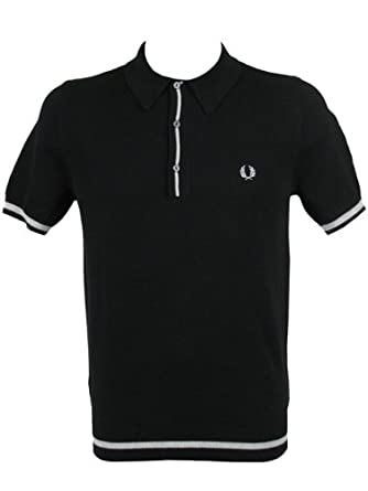 25a0575e767 Fred Perry Polo Knitted Cotton Tipped T-Shirt S/S Black: Amazon.co.uk:  Clothing