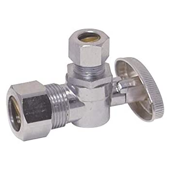 5//8-inch OD Compression Inlet x 1//4-inch OD Compression Outlet Eastman 10737LF 1//4-Turn Brass Angle Stop Valve with Brass Ball Mechanism Chrome Plated 1//2-Inch Nom.