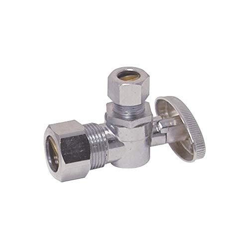Eastman 10738LF 1/4-Turn Angle Stop Valve 3/8-inch x 5/8-inch, Chrome ()