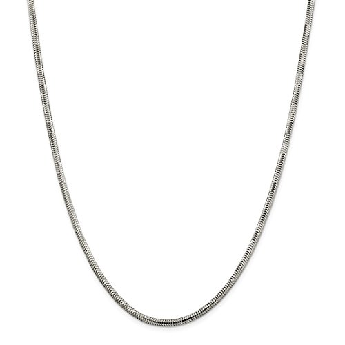 - 925 Sterling Silver 3mm Round Snake Necklace Chain Pendant Charm Fine Jewelry Gifts For Women For Her
