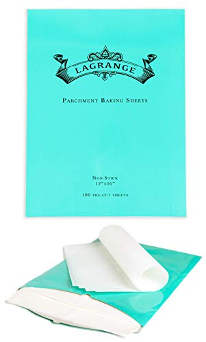 LaGrange Parchment Paper Baking Sheets - (100 pcs) - Pre-cut 12x16 inch Perfect Fit for Sheet Pans - Non-stick - Greaseproof - High Temperature Baking - Easy Storage & Use … (White)