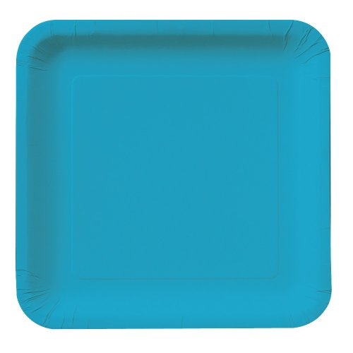 Creative Converting Touch of Color 18 Count Square Paper Dinner Plates, Turquoise -