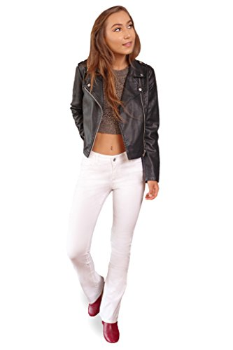 Bebop Women's Size 7, White, 5 Pocket Bootcut Stretch Cotton Twill Chino Pant - Trouser Twill Wide Leg