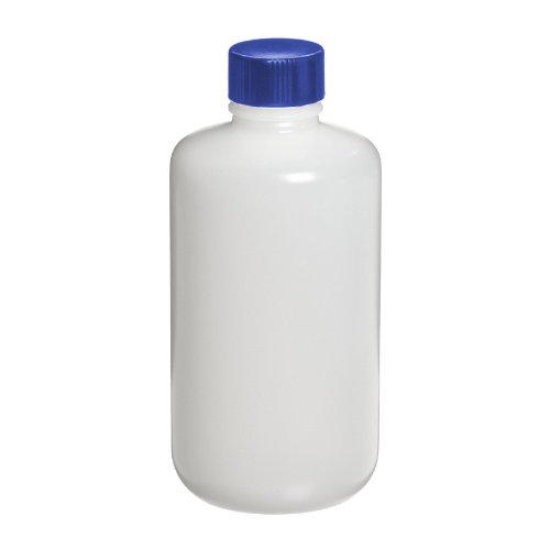 I-Chem Brand 313-1000 300 Series HDPE Natural Cylinder Round Bottle, Certified, With Cap, Capacity: 1000mL (Case of 12)