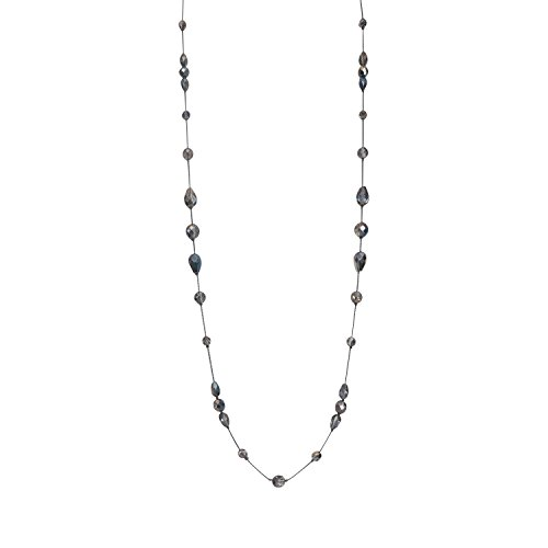 Crystal Beads Long Necklace - Long Necklace for Women Handcrafted Silver Tone Czech Glass Crystal Bead