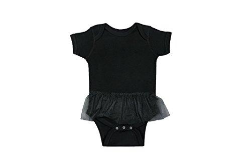 [Rabbit Skins 100% Cotton Infant Baby Tutu Ribbed Bodysuit [Size 6 Month] Black Onsie with Tutu] (Child Black Skin Suit)