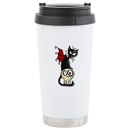 CafePress Voodoodle Fang Kitty Stainless Steel Travel Mug Stainless Steel Travel Mug, Insulated 16 oz. Coffee Tumbler