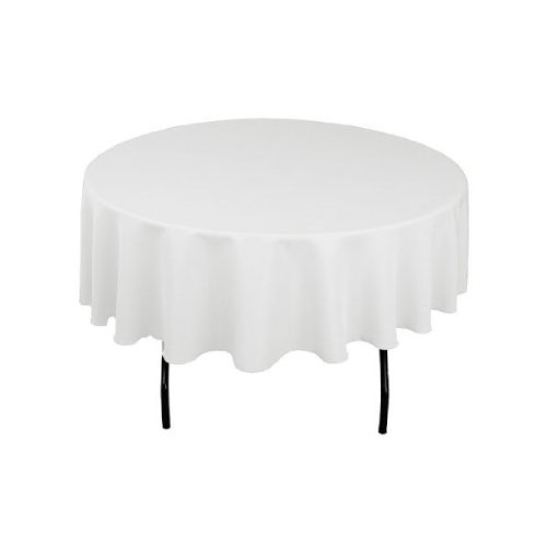 LinenTablecloth 90-Inch Round Ambassador Tablecloth (White Cotton Tablecloth Round)