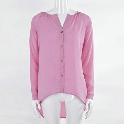 T Chiffon Haut Col Vetement en Simple Chemisier Soie Longue lgant Manche Shirt Rose Mousseline Rond de tBwqxzHd