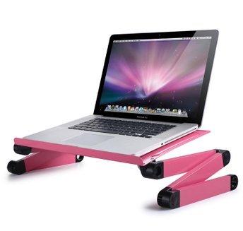 折りたたみ式なので、使わないときは小さく収納★テーブルラップトップ パソコンデスク ポータブルベッドトレー 卓上スタンド WoneNice社 Pink【並行輸入】 B00ASVCKEA
