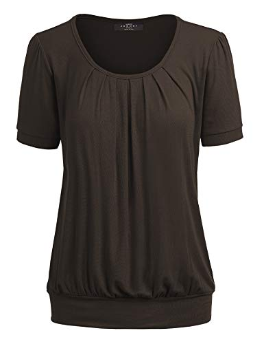 Made By Johnny MBJ WT1175 Womens Scoop Neck Short Sleeve Front Pleated Tunic XXL Brown