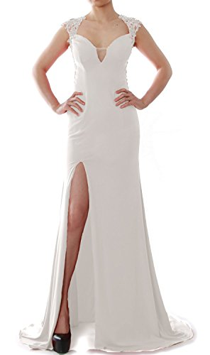 MACloth Women Mermaid Prom Gown V Neck Jersey Long Formal Evening Gown with Slit Marfil