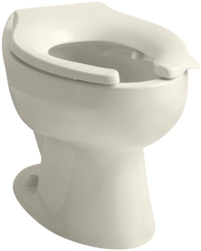 - KOHLER K-4349-L-47 Wellcomme(TM) 1.6 gpf Flushometer Valve Elongated Toilet Bowl with Rear Inlet and Bedpan Lugs, Without Seat, Almond Almond