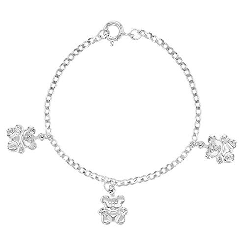 925 Sterling Silver Teddy Bear Charm Bracelet for Toddlers or Girls 5""