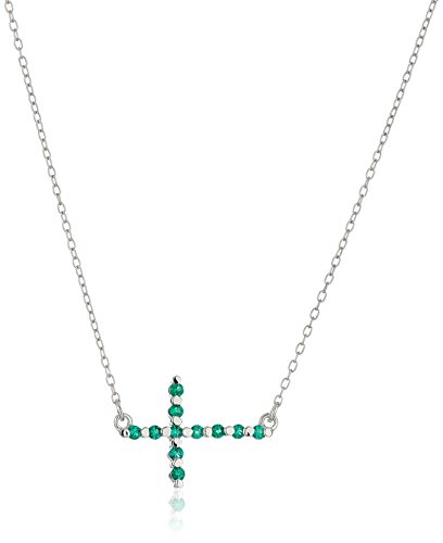 - Sterling Silver Created Emerald Sideways Cross Necklace, 18