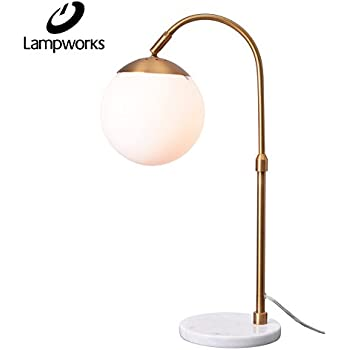 Rivet glass ball and angled metal table lamp with bulb 215h lampworks table lamp marble base bedside lamp white globe glass lampshade metal bracket desk lamp modern simple design light for bedrooms living room bulb greentooth Images