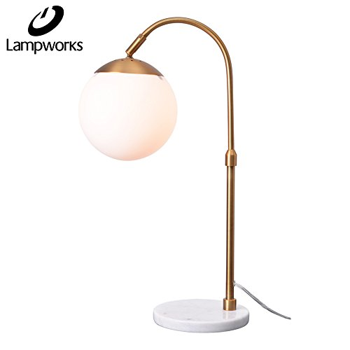 Lampworks Table Lamp Marble Base Bedside Lamp White Globe Glass Lampshade Metal Bracket Desk Lamp Modern Simple Design Light for Bedrooms Living Room(Bulb Not (Marble Glass Table Lamp)